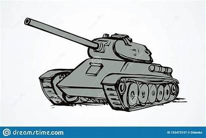 Tank Illustrazione Vettore Drawing Shoot Contesto