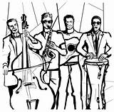 Jazz Band Drawing Coloring Ideal Illustrations Vectors sketch template