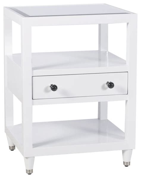white mirrored nightstand worlds away one drawer mirrored top white lacquer