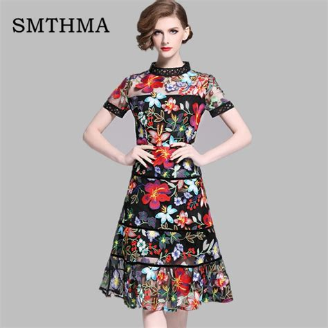embroidery dresses runway bohemian flower embroidered summer sleeve dress vintage