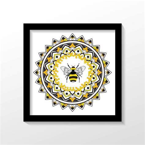 1718 x 1290 png 1100 кб. HONEY BEE MANDALA print. Wall decoration wall art by ...