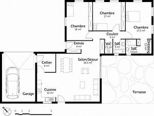 plan maison plain pied avec 3 chambres et garage ooreka With plan de maison 100m2 3 plan de maison plain pied 3 chambres sans garage ideo