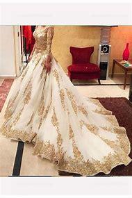 Gold Long Sleeve Formal Dress
