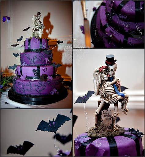 creepy cool purple  black tiered wedding cake  bats