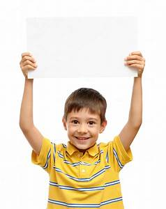 Happy Child Holding Empty Poster People Photos On