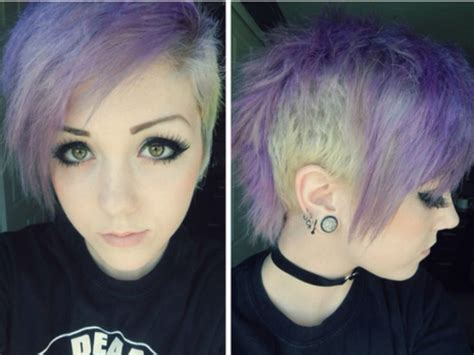 Purple Shaved Emo Haircut Womens Hairstyles Short
