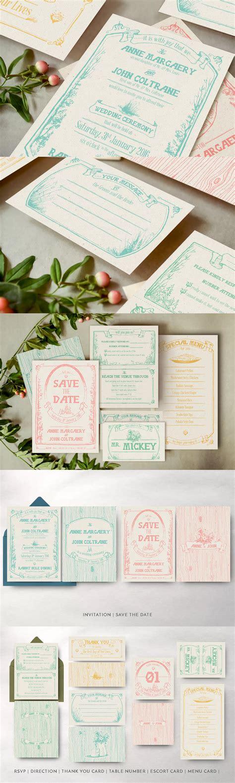 Whimsical Forest Wedding Invitation Templates AI EPS PSD