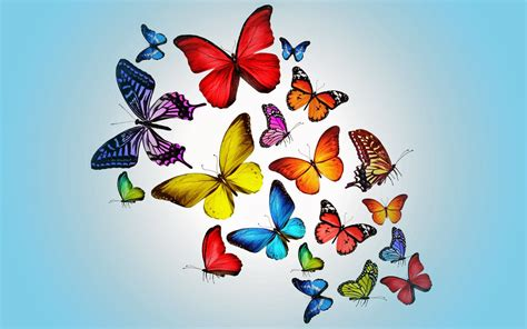 post it bureau mac blauwe achtergrond met vlinders bureaublad achtergronden