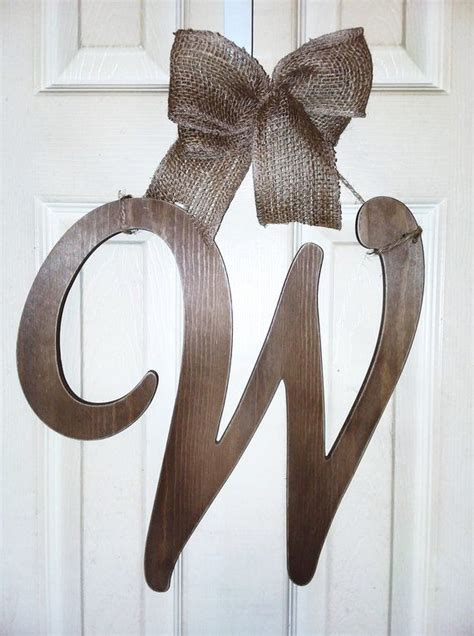wood initial  door hanger monogram wreath monogram  wreath hanging door letters initial