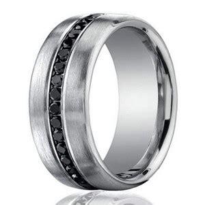 mm  platinum black diamond mens wedding ring