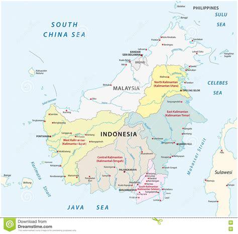 borneo kalimantan administrative map stock illustration