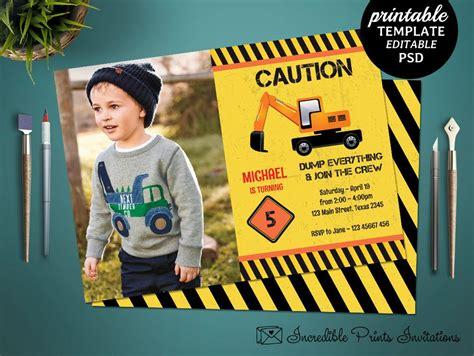 printable construction boy birthday invitation template