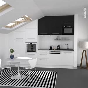 cuisine bicolore design blanche et noire meuble haut With cuisine blanche et noire