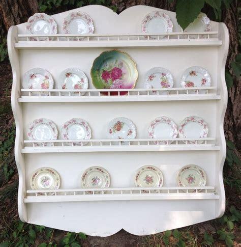 vintage shabby cottage wood hanging plate display wall shelf rackhuge dish display wall