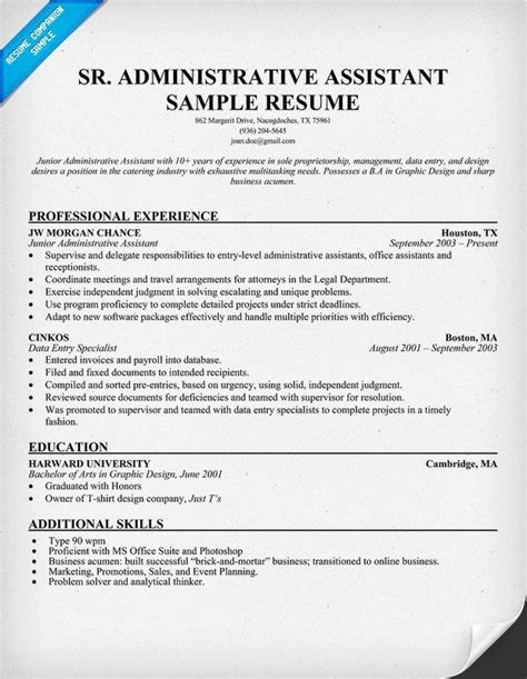 Administrative Assistant Office Resume by 13 Senior Administrative Assistant Resume Riez Sle