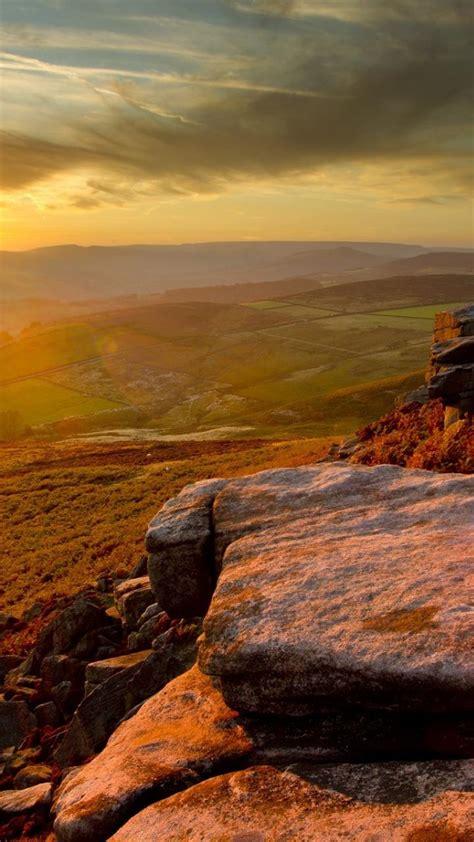 sunset england peak district national park wallpaper