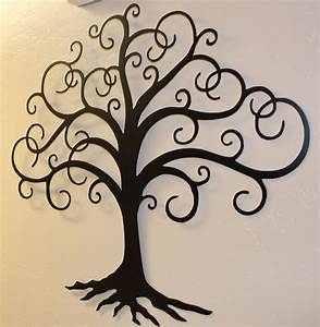 black swirled tree of life 24quot tall metal wall art decor With tree of life wall decor