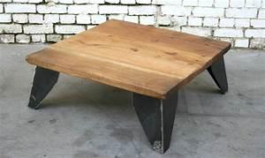 Table Basse Bois Metal : table basse asc tb005 giani desmet meubles indus bois m tal et cuir ~ Teatrodelosmanantiales.com Idées de Décoration