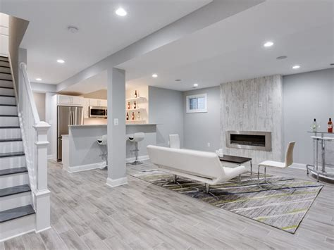 contemporary basement with hardwood floors high ceiling