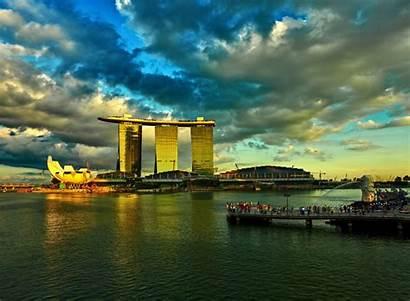 Singapore Marina Bay Sunset Wallpapers Sands Desktop