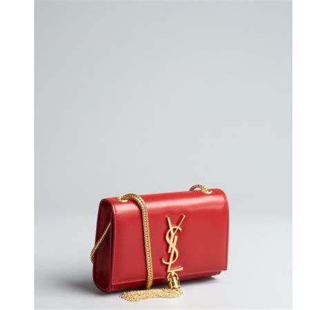 lyst saint laurent red leather ysl shoulder bag  red