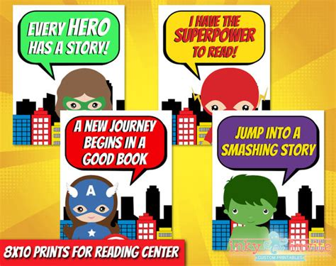 Superhero Classroom Reading Center Posters Preschool