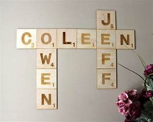 scrabble letters wall art puzzle format personalized With family name picture letters