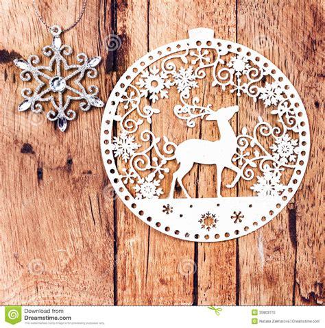 white christmas ornaments  rustic wooden board retro