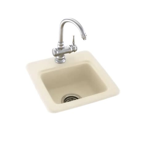 swanstone single bowl kitchen sink dual mount composite 15 in single bowl bar sink in bone 8416