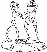 Coloring Disney Couple Frog Princess Dancing Frogs Couples Printable Getcolorings Wecoloringpage sketch template