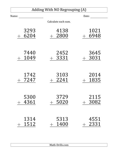 4 digits addition with decimals large print 4 digit plus 4 digit addition with no