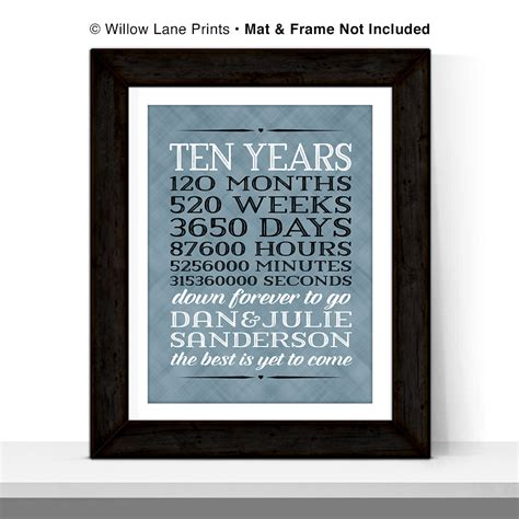 10 year anniversary gift 10 year anniversary gift for men 10th wedding by willowlaneprints