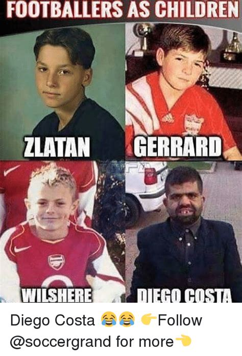 Diego Costa Meme - footballers as children zlatan gerrard wilshere diego costa diego costa follow for more