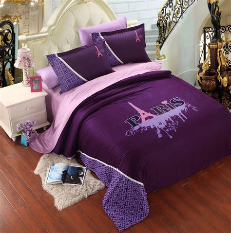 violet tour eiffel ensemble de literie roi housse de couette couvre lit drap de