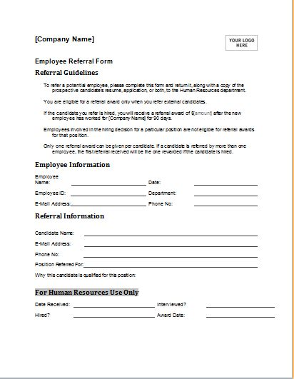 editable employee referral form  ms word document hub