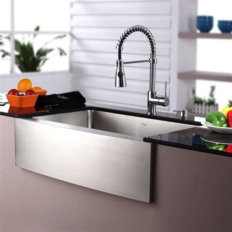 stainless farmhouse kitchen sinks kraus khf20030kpf1612ksd30ch 30 inch farmhouse single bowl 5708