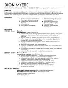 nanny and babysitting resume template resume sle my resume