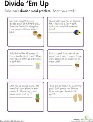 3rd grade math worksheet division word problems division word problems divide em up worksheet