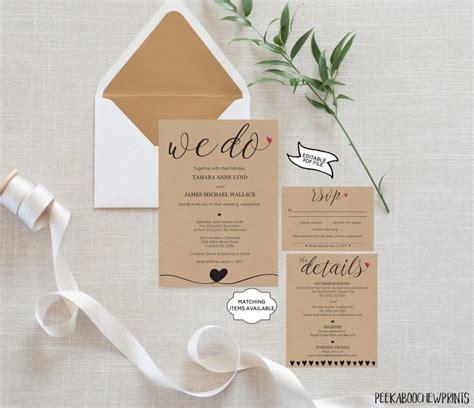wedding invitation template set we do invitation rsvp card