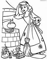 Cinderella Coloring Print Pages Disney Cartoons sketch template