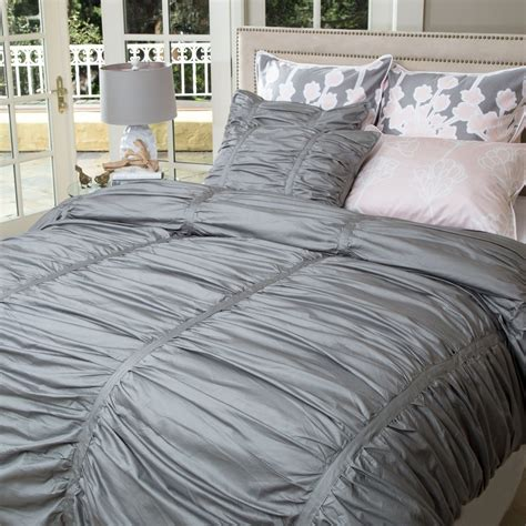 ruched duvet cover gray ruched duvet cover the mirabel gray crane canopy