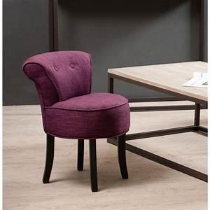 Tabouret Avec Dossier : tabouret rond avec dossier tissu couleur prune meubles ~ Dallasstarsshop.com Idées de Décoration