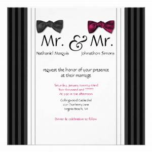 mr mr bow ties pin striped wedding invite With gay wedding shower invitations