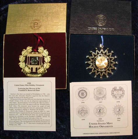 us mint christmas ornaments 1072 1998 2000 us mint ornaments issued at 18 95 each