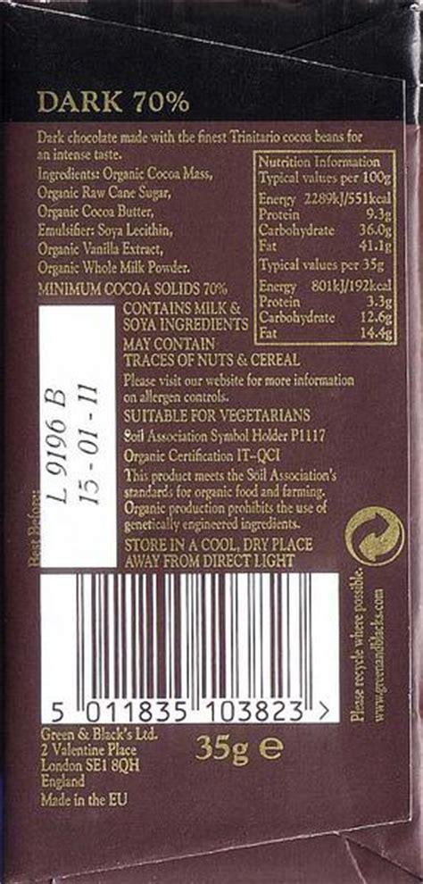 FairTrade Organic Dark Chocolate 70% in 35g bar from Green