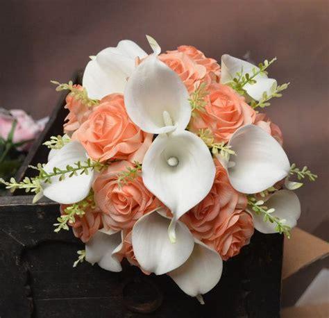 Rustic Silk Bridal Bouquet Light Coral Peach Roses White