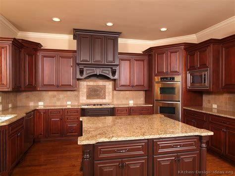 dark cherry wood kitchen cabinets kitchen idea of the day two tone kitchens in traditional