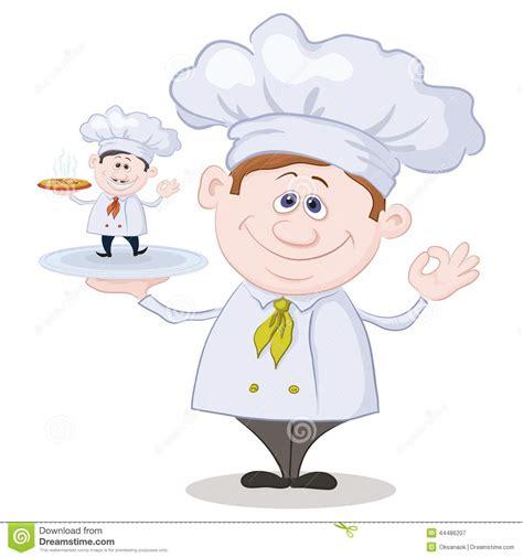 petit chef cuisine cuisinier de bande dessinée et petit chef avec la pizza