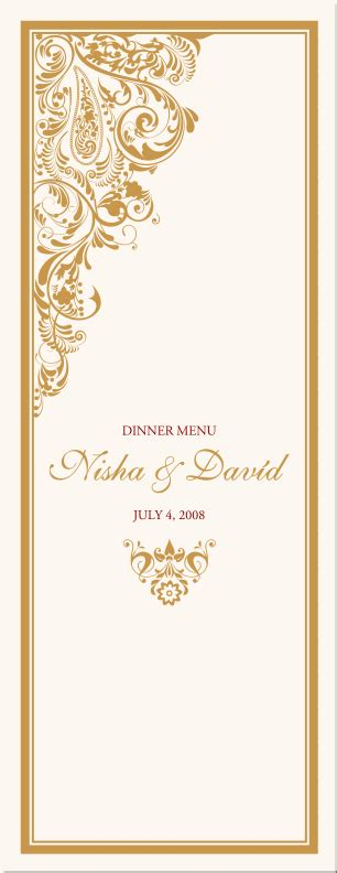 paisley buddhist hindu wedding menu cardsindian menu card