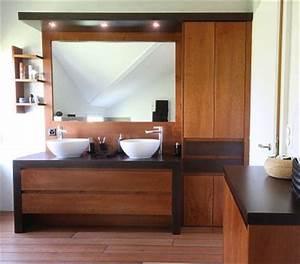 meuble bain menuiserie cuisines michellod sa With porte d entrée pvc avec meuble double vasque salle de bain bois